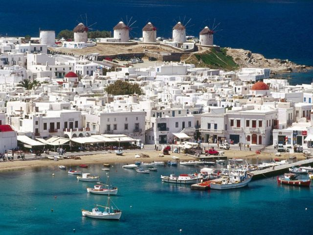 The typical Cycladic Architecture in Mykonos